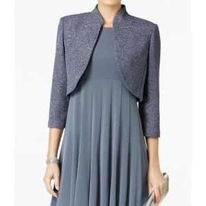 NWT Jessica Howard Grey Purple Shimmer Shrug